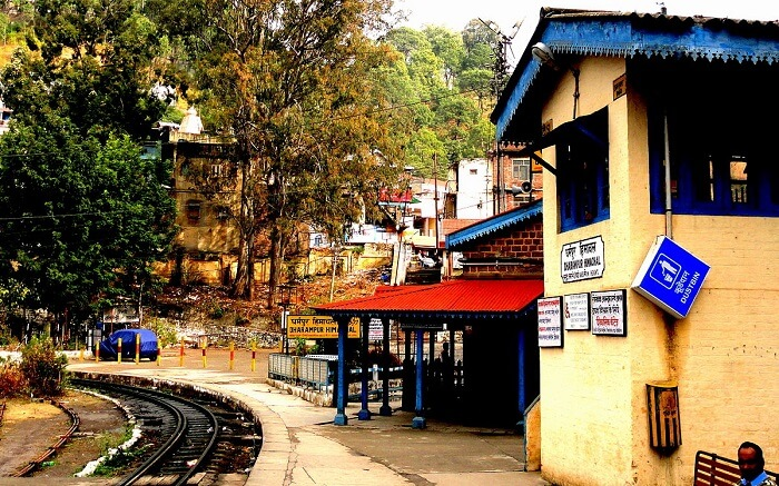 A view of railway station of Dharampur on a bright day