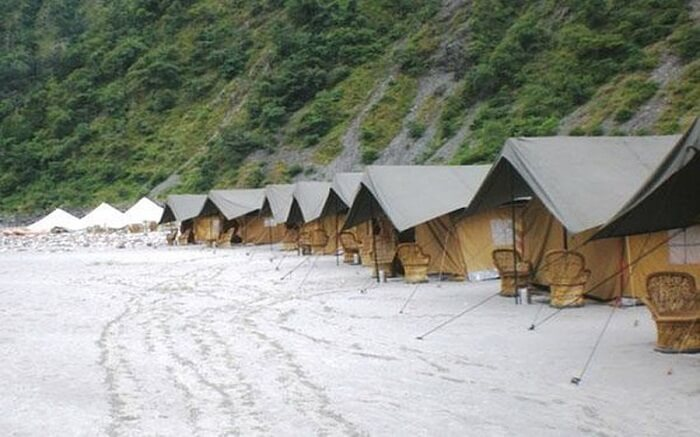 A view of tents of Camp Gold Coast in the foothills of the Himalayas in Rishikesh