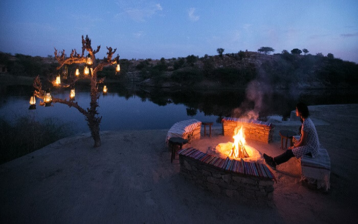 Bonfire in Lakshman Sagar Resort