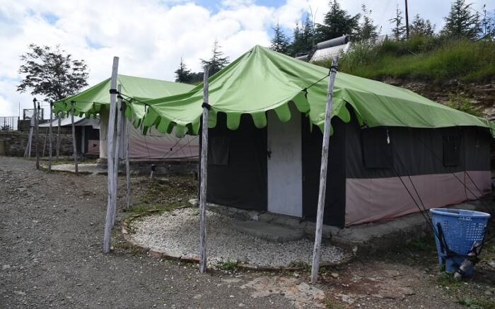 Front view of one of the tents of Snow Trails Camp in Shimla