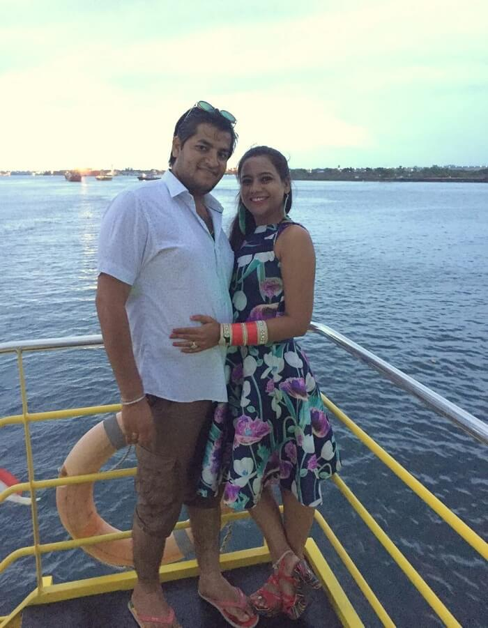 pankaj honeymoon trip to bali: pankaj and wife aboard the sunset dinner cruise