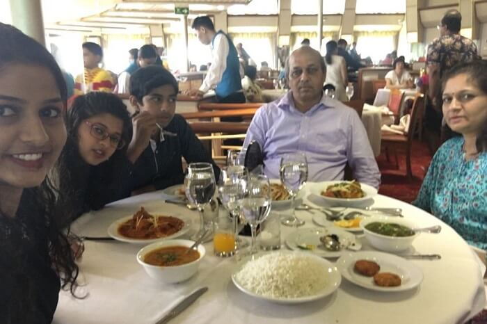 saurabhi singapore family trip: family dining in cruise