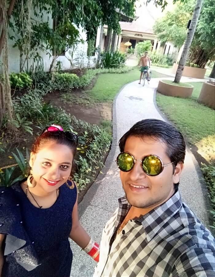 pankaj honeymoon trip to bali: pankaj & wife at resort