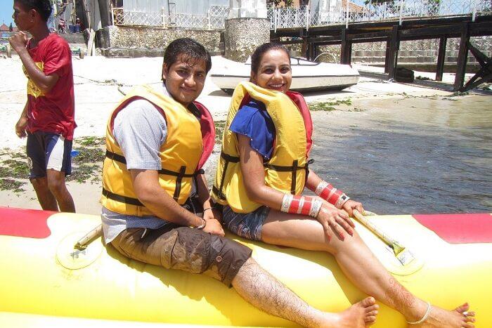 pankaj honeymoon trip to bali: posing on a jetski