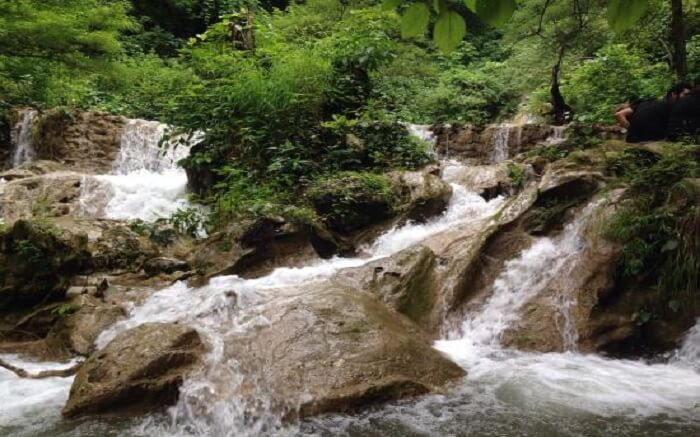 Multiple streams flowing at Neer Garh Waterfall