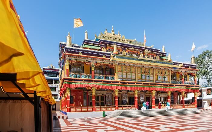 Ralong monastery exuding colors on a bright day