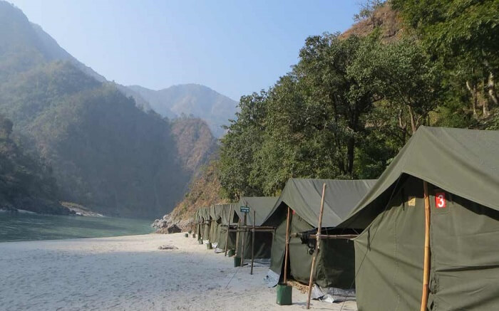 Swiss tents of Camp Rapidfire by the Ganges in Rishikesh