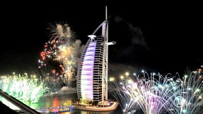 fireworks at burj al arab new year