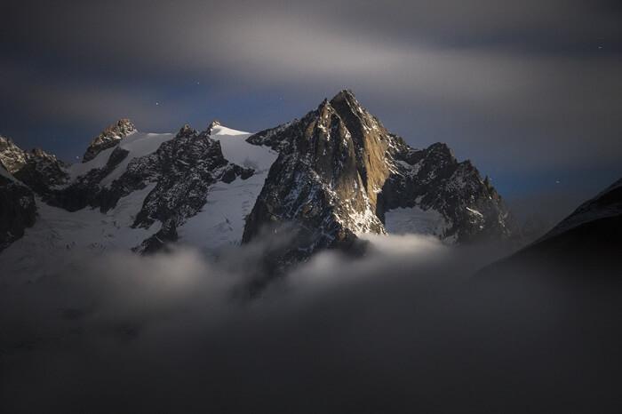 Mont Gruetta in moonlight