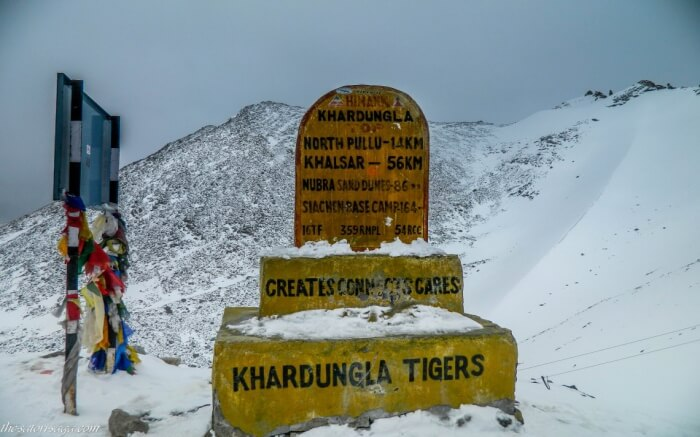 Khardung La during Winter