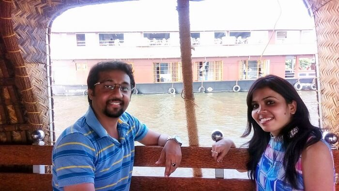Couple enjoying on a houseboat
