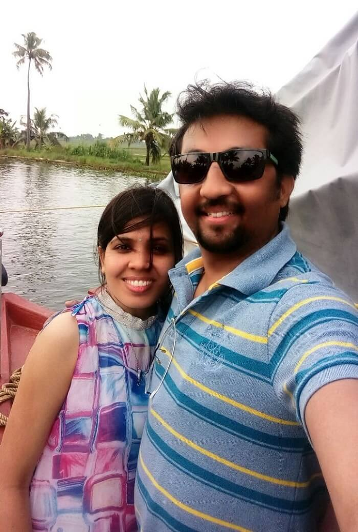 Couple on a honeymoon in Alleppey