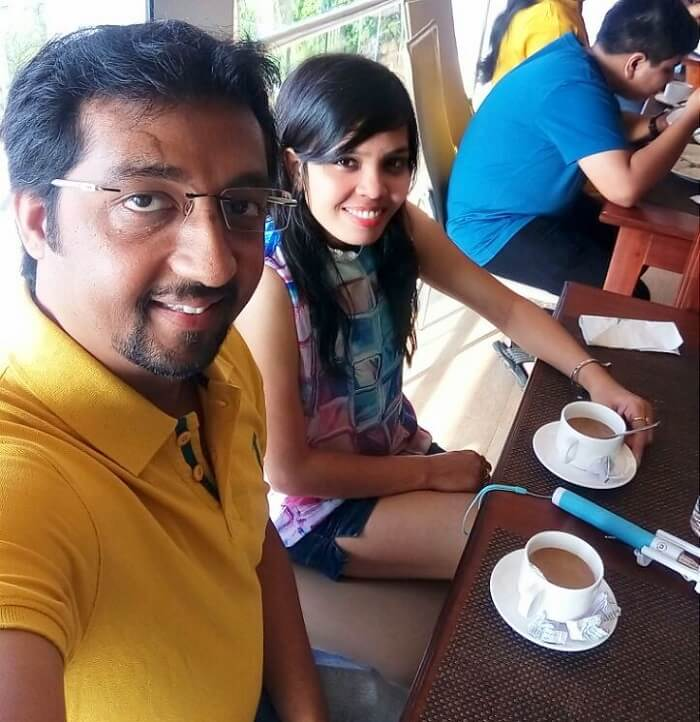 Couple enjoying breakfast in Munnar