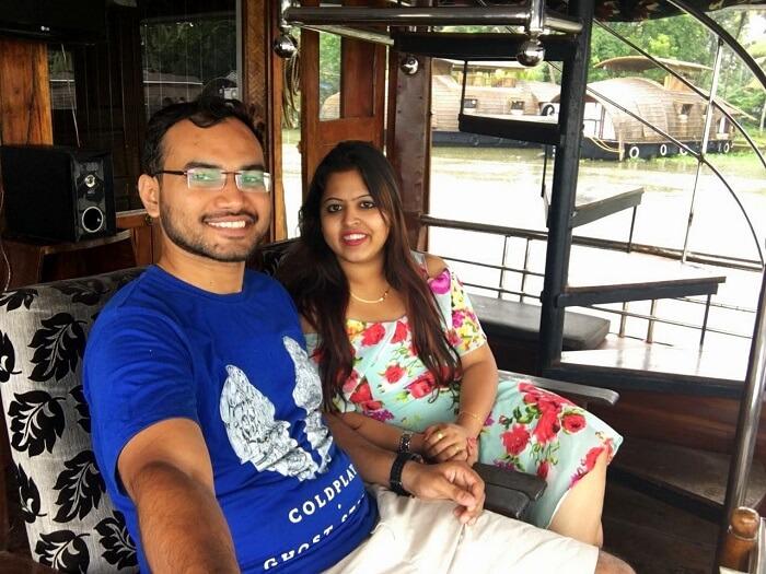 Couple on a houseboat Kerala