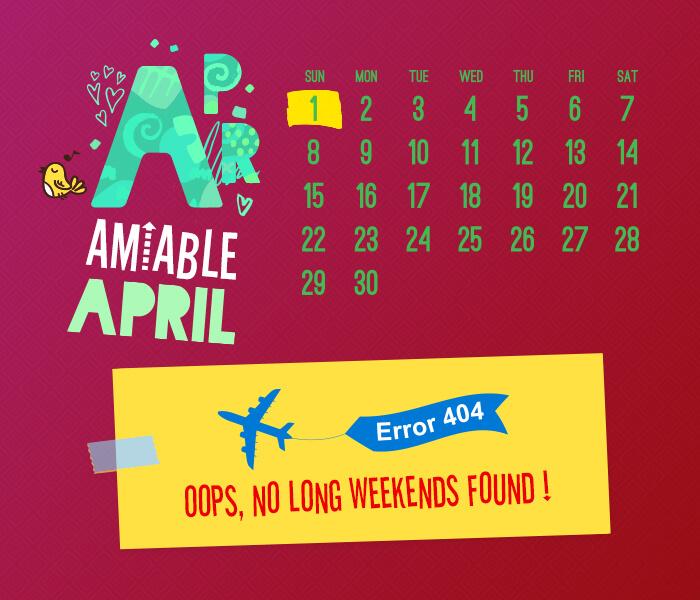 long weekend calendar 2018: April