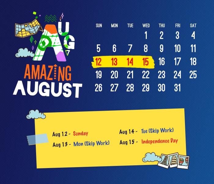 long weekend calendar 2018: August