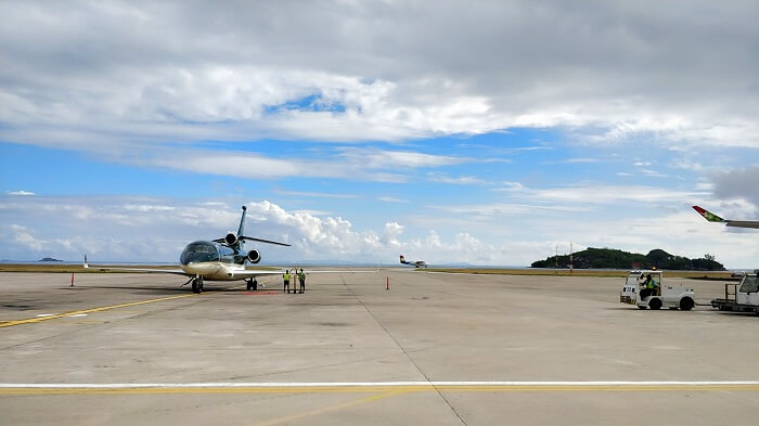 sandeep seychelles trip: helipad in la digue