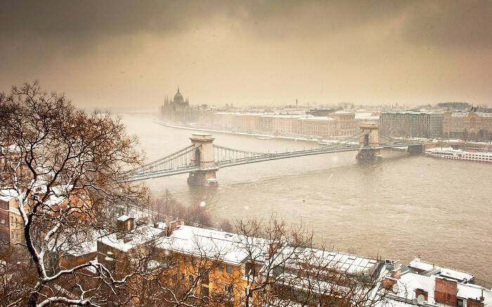 Budapest homes covered in snow