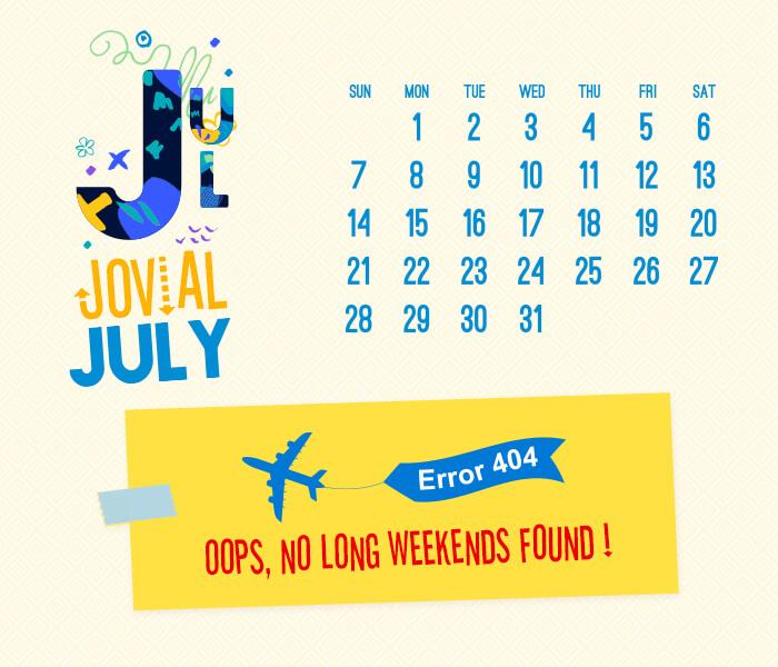 long weekend calendar 2018: July