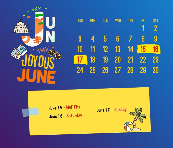 long weekend calendar 2018: June