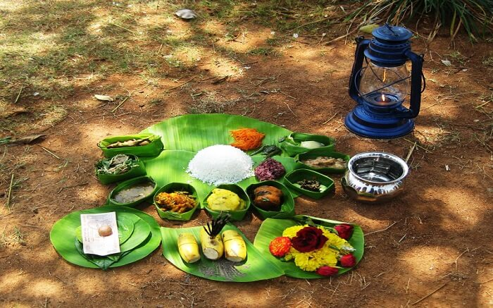 Manipuri food kept on banana leaves
