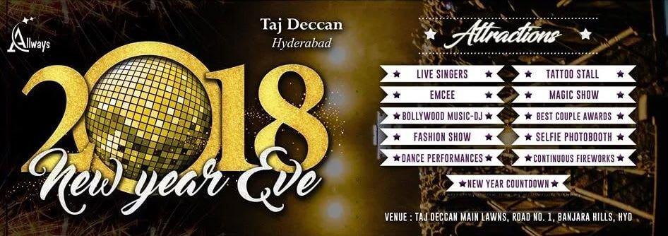 New Year Eve 2018 event at Taj Deccan in Hyderabad