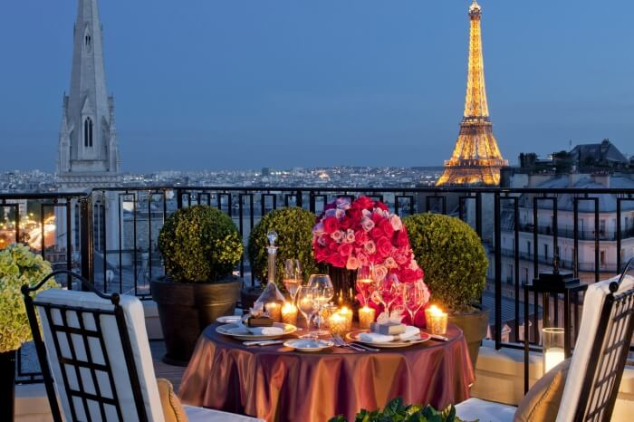 Dining in Paris with the view of Eiffel