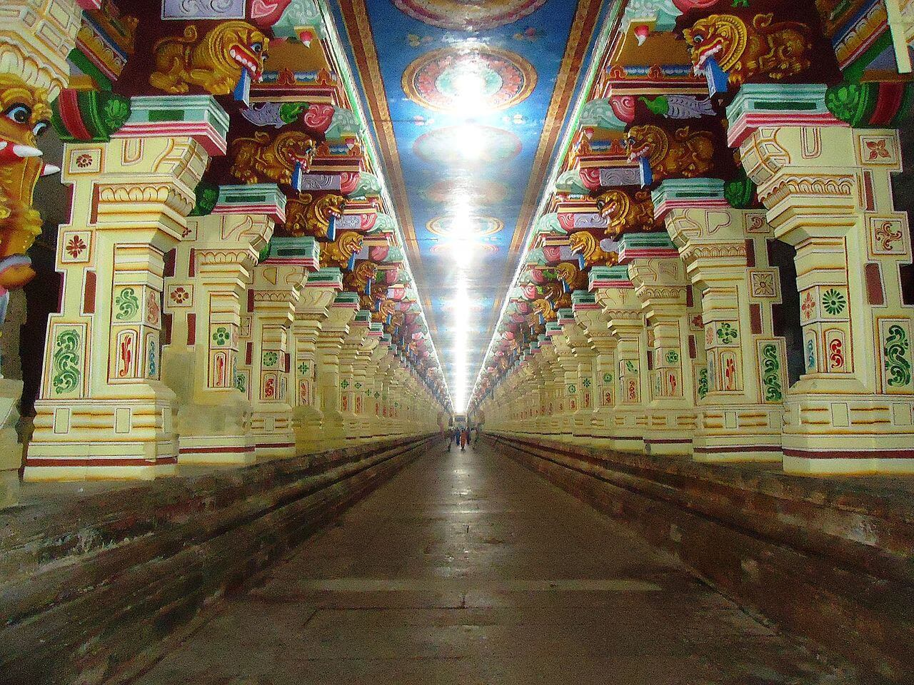 inside a temple in rameshwaram