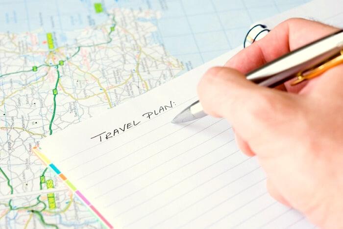Handwriting travel plan