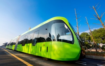 Front view of world's first trackless train in China