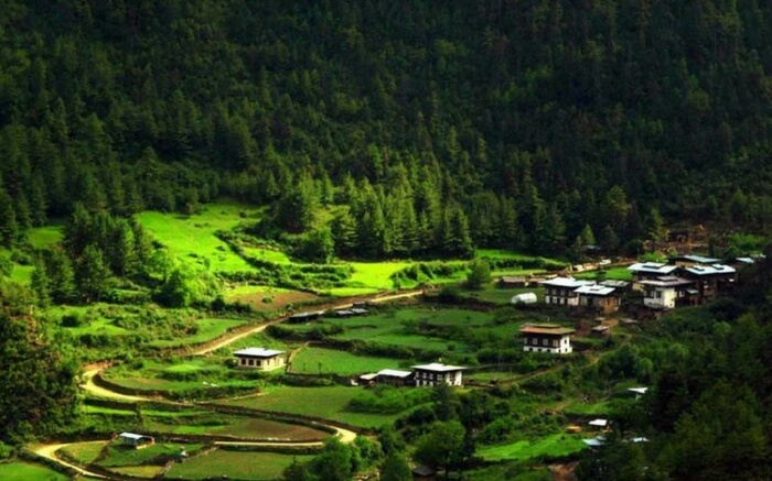 Beautiful view of Haa valley during autumn