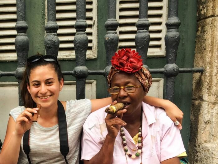 Smoking cigars in Cuba