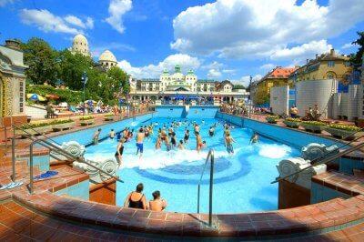 people enjoying in gellert soa in Budapest