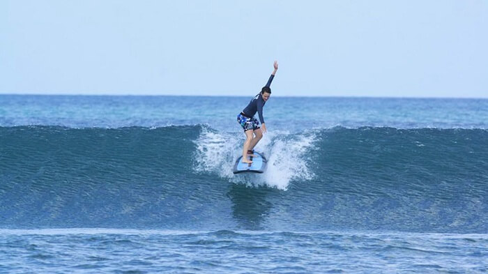 surfing in seminyak