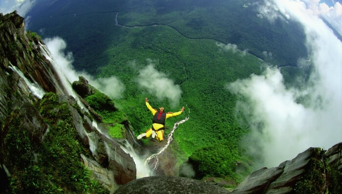 Free fall from the tallest waterfall in the world