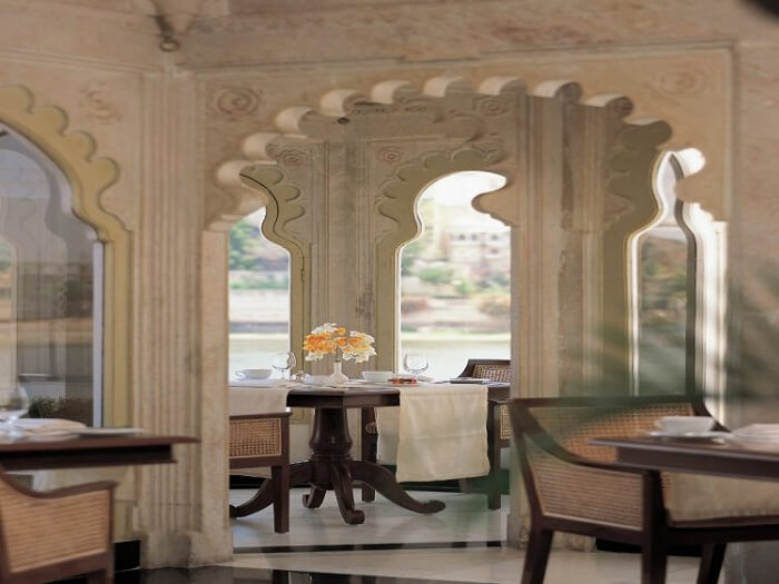 Jharokha restaurant at Taj Lake Palace