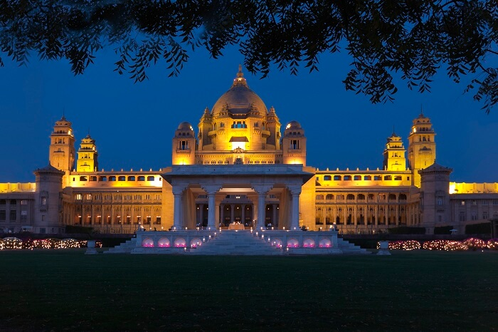 Umaid Bhawan Palace at night
