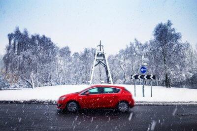 Driving during snowfall in UK