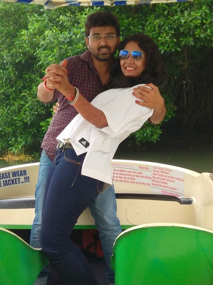Honeymoon couple in Alleppey