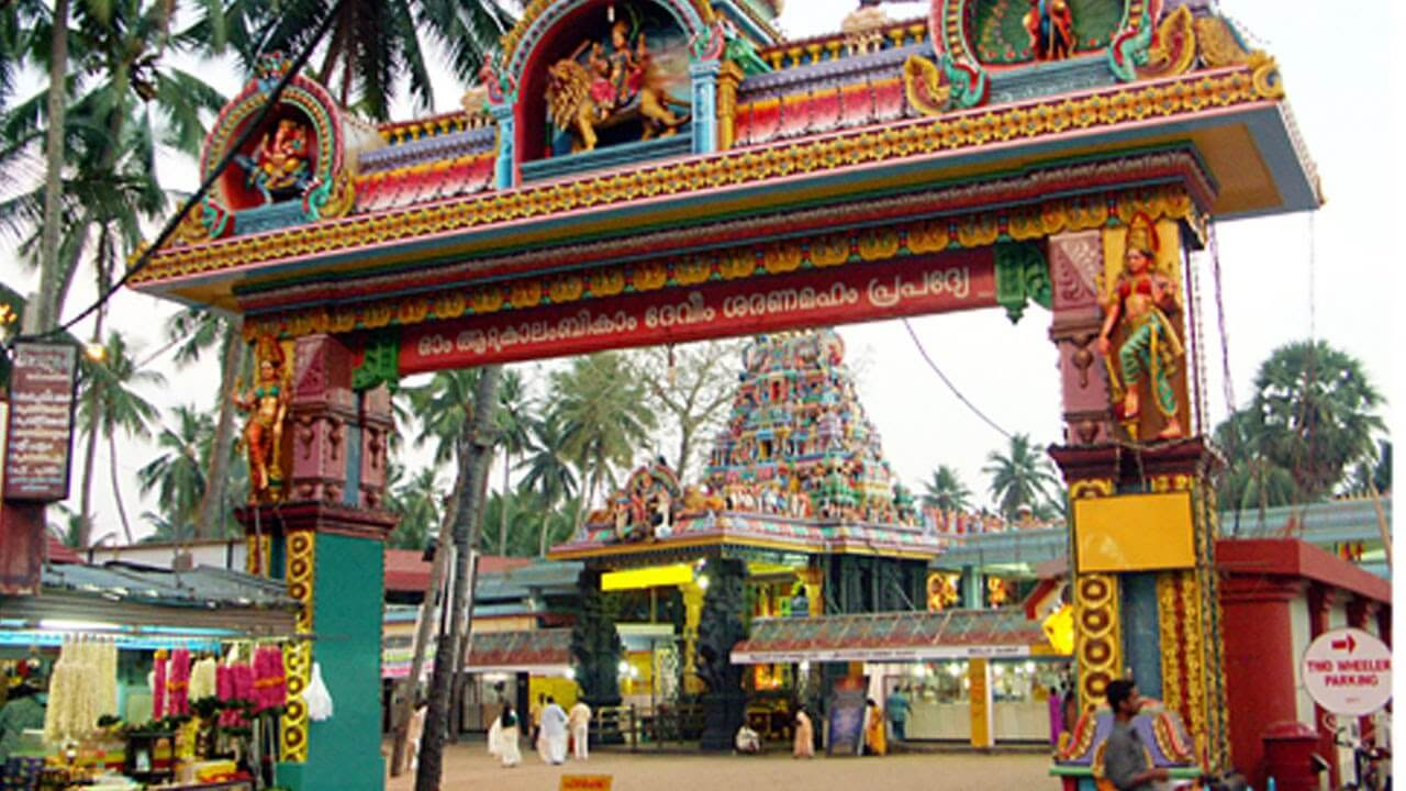 a colourful entrance gate of a temple
