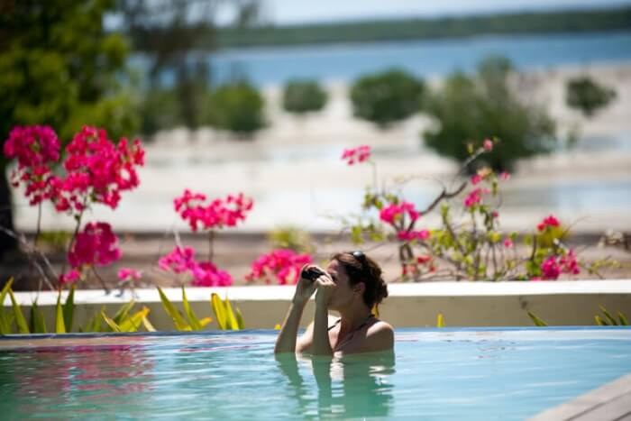 A woman watching birds from a swimming pool in Ibo