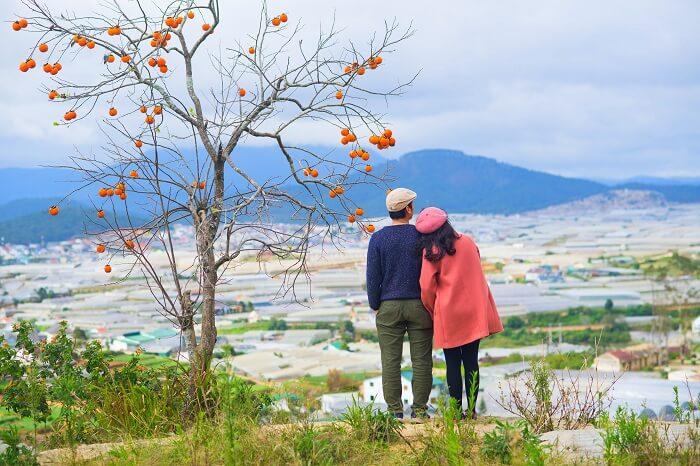 Couple In Da Lat Valley Vietnam