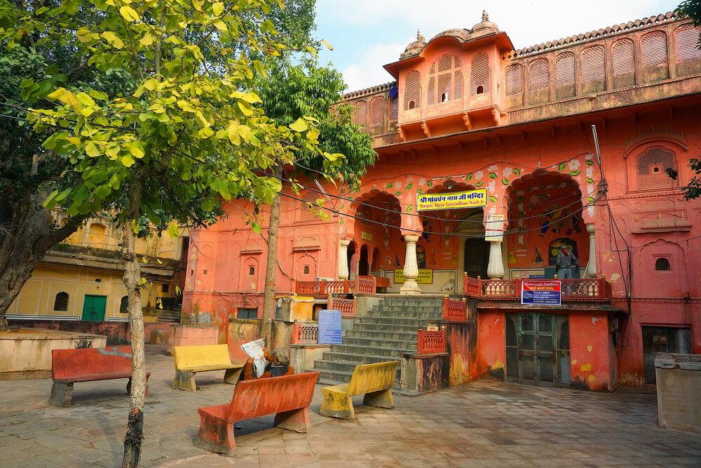 the premises of Goverdhan temple in jaipur