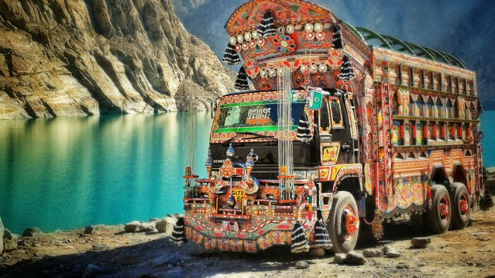Colorfully decorated truck in Pakistan