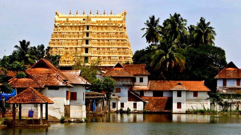 a gorgeous golden colour temple in Kerala