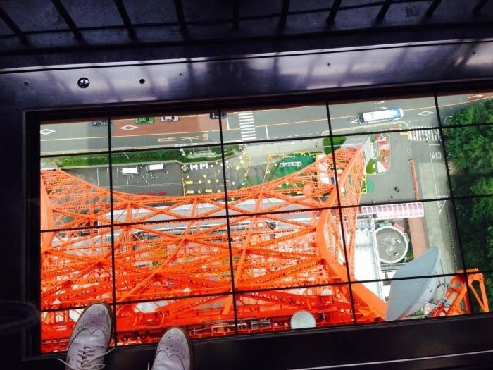 Glass floor in Tokyo Tower