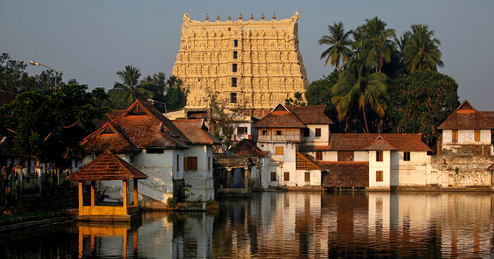 A temple in Kerala with golden outer