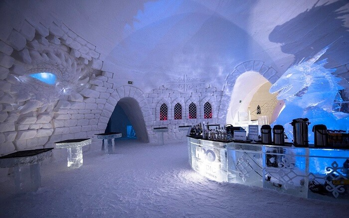 hall and bar in ice hotel in finland