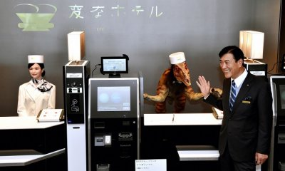 henn na hotel in japan owner at reception