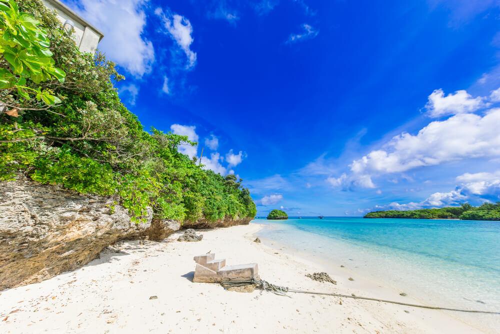 a beautiful white sand beach